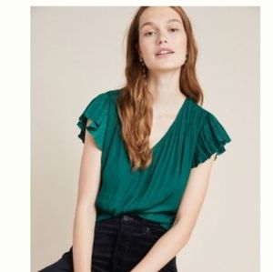 Anthropologie Emerald Blouse